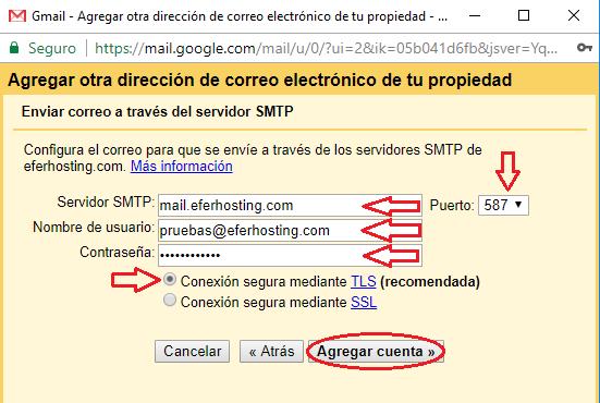 Paso 10 para agregar cuenta de correo a Gmail