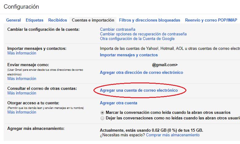 Paso 4 para agregar cuenta de correo a Gmail