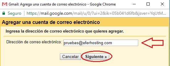Paso 5 para agregar cuenta de correo a Gmail