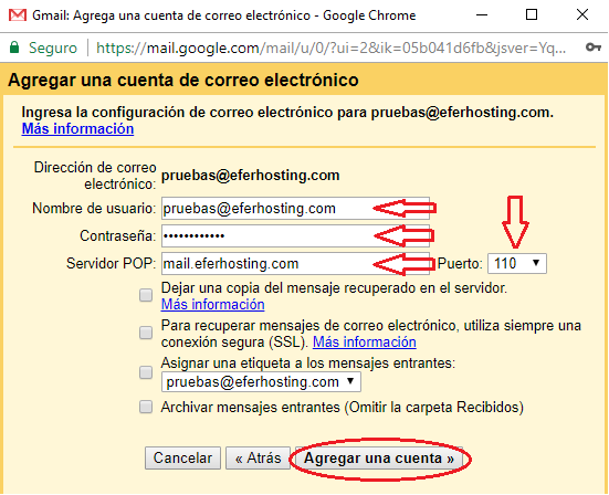 Paso 7 para agregar cuenta de correo a Gmail